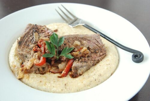 Stuffed Flank Steak with Jessica's Creamy Grits