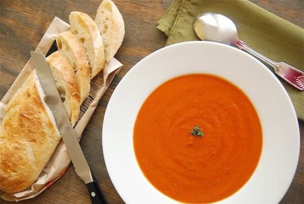 basil, soup, appetizer, restaurant, easy, tomato, cream, garlic, tomato soup, creamy tomato soup, spicy