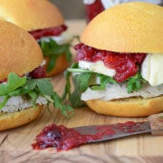 Turkey Sliders with Brie, Arugula and Cranberry Chutney  from www.thenovicechefblog.com