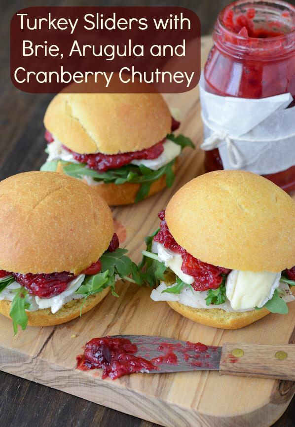 Turkey Sliders with Brie, Arugula & Cranberry Chutney (recipe via www.thenovicechefblog.com)