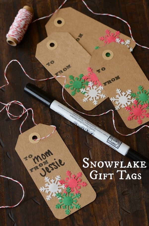 DIY Snowflake Gift Tags  from www.thenovicechefblog.com