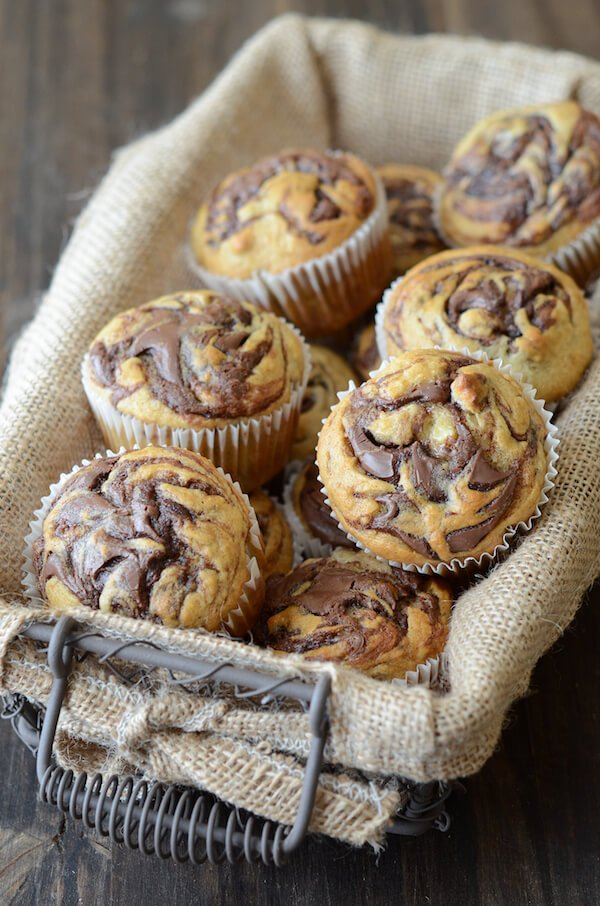 Nutella Banana Swirl Muffins from www.thenovicechefblog.com