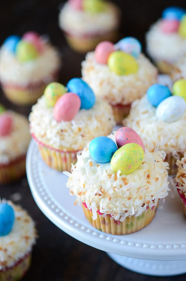 Triple Coconut Cupcakes with Coconut Easter Nests – The Novice Chef