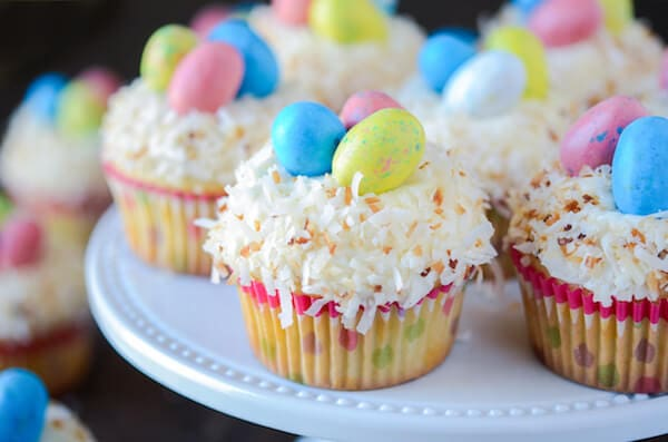 Triple Coconut Cupcakes with Coconut Easter Nests