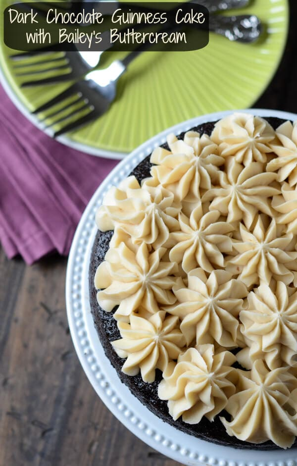 Dark Chocolate Guinness Cake with Bailey's Buttercream from thenovicechefblog.com