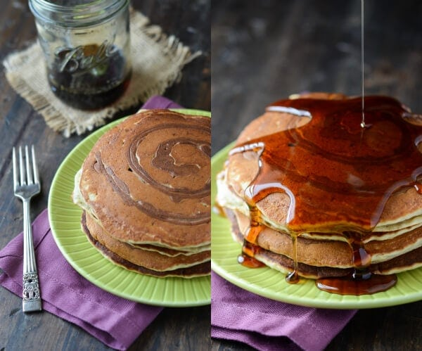 Banana Cinnamon Swirl Pancakes  from thenovicechefblog.com