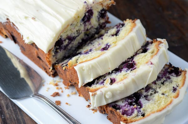 Blueberry Lime Cream Cheese Pound Cake via thenovicechefblog.com