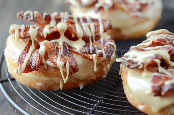 Candied Maple Bacon Donut! Inspired by the famous Gourdough's Flying Pig donut!  via thenovicechefblog.com