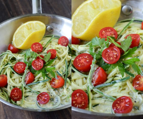 Zucchini Pasta in a Lemon Cream Sauce (recipe via thenovicechefblog.com)