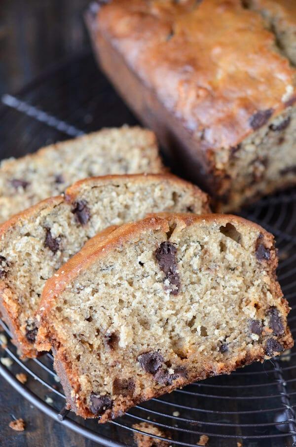 Peanut Butter Banana Chocolate Chip Bread (recipe via thenovicechefblog.com)