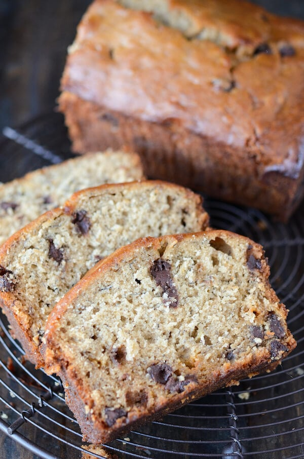 Peanut Butter Banana Chocolate Chip Bread  (recipe via thenovicechefblog.com)