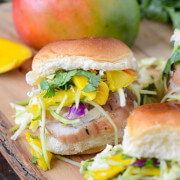 Pork Tenderloin Sliders with Spicy Mango Slaw recipe via www.thenovicechefblog.com