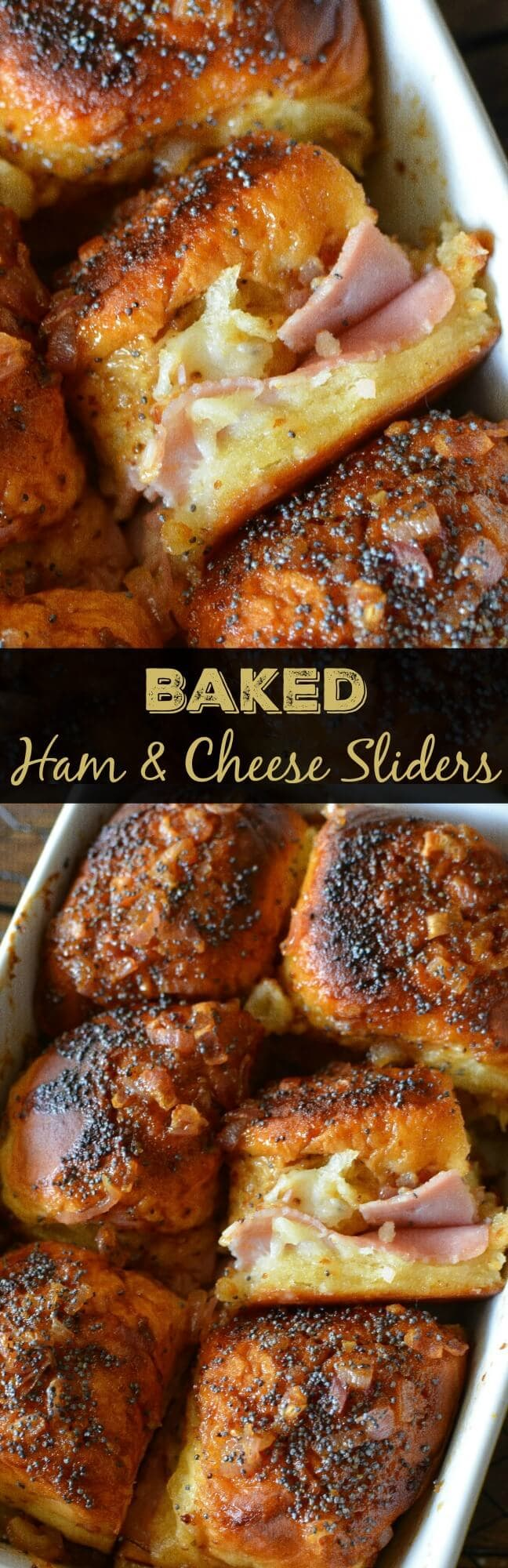 Baked Mustard, Ham & Cheese Sliders  - These soft melted ham sliders are drenched in sauce and served warm out of the oven. It's no wonder they are one of my most popular recipes!
