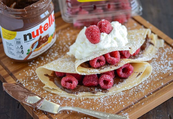 Raspberry Nutella Crepes recipe via www.thenovicechefblog.com