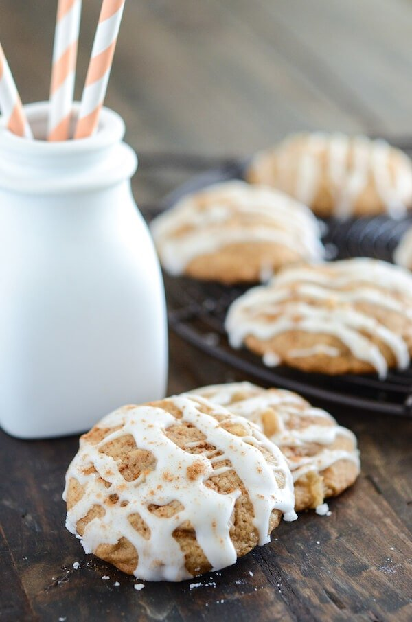Apple Pie Cookies! Easy classic cookies with apple pie filling folded right into the dough!