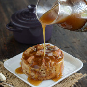 Donut Bread Pudding with Rum Sauce recipe via www.thenovicechefblog.com
