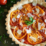 Heriloom Tomato Tart: with a slighty sweet crust and béchamel filling!