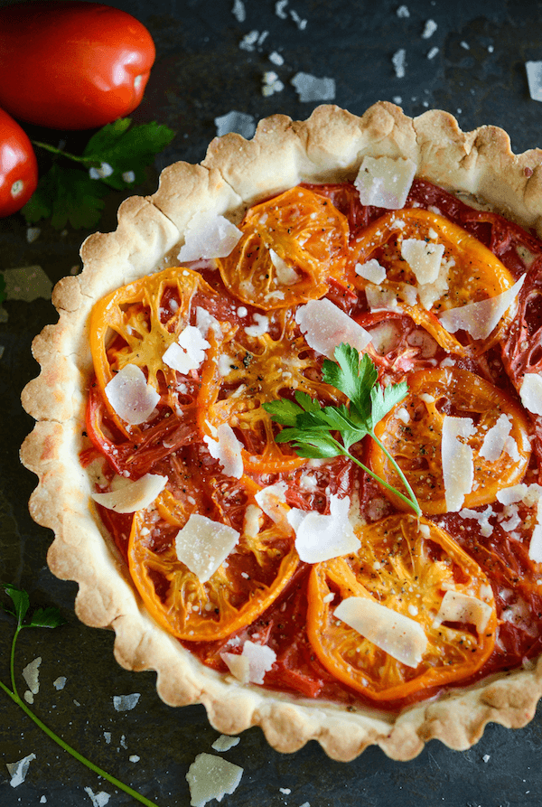 Heriloom Tomato Tart with a slighty sweet crust!