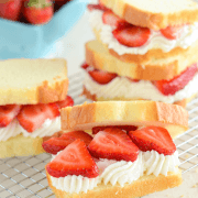 Strawberry Shortcake Sandwiches - a quick fresh dessert using poundcake, strawberries and fresh whipped cream!
