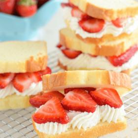 Strawberry Shortcake Sandwiches - a quick fresh dessert using poundcake, strawberries and fresh whipped cream!