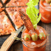 Bacon Bloody Mary paired with a Bon Appétit Trio Bacon Pizza! The perfect brunch!