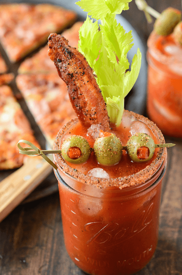 Spicy Bacon Bloody Mary paired with a Bon Appétit Trio Bacon Pizza! The perfect brunch!