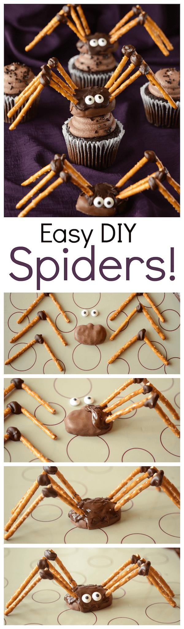DIY Pretzel Chocolate Spiders!