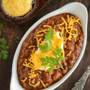 Slow Cooker Bean Chili and Easy Cornbread Muffins - my husband didn't even realize it was missing meat!