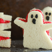 Pound Cake Ghost Sandwiches filled with Raspberry Buttercream!