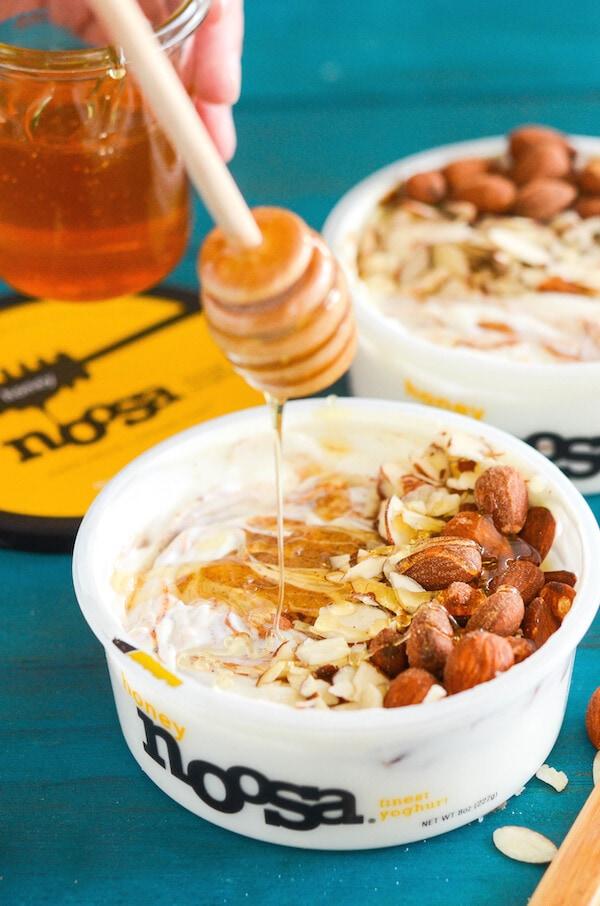 Honey Almond Yoghurt Breakfast Bowl - honey yoghurt, almond butter, almonds and honey!