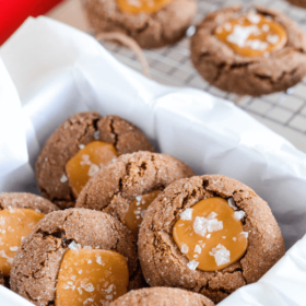 Chocolate and Salted Caramel Thumbprint Cookies!