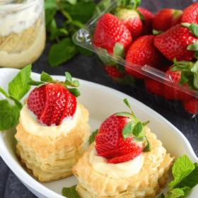 Berries & Cream in Puff Pastry  - fresh berries, butter puff pastry and smooth vanilla pastry cream!