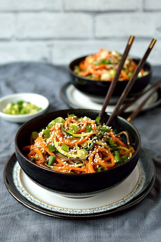 Spiralized Vegetable Noodle Bowls With Peanut Sauce