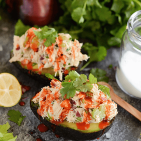 Mexican Tuna Salad Stuffed Avocados - my favorite healthy quick lunch with tons of flavor!