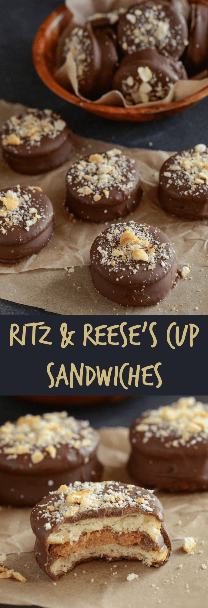 Ritz Reese's Cup Sandwiches coated in dark chocolate!