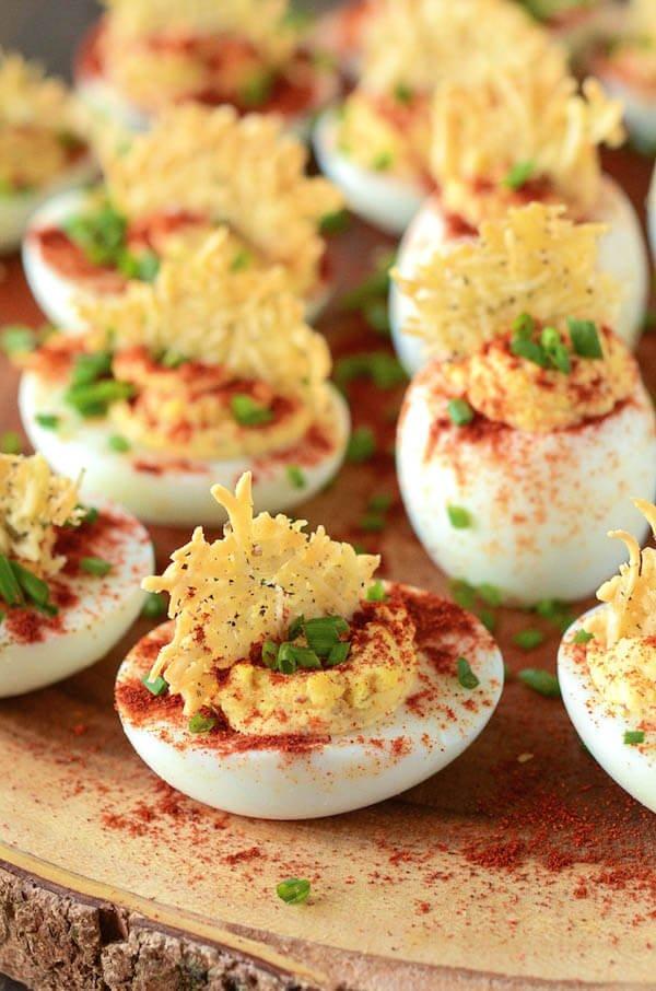 Mama's Deviled Eggs with a Parmesan Crisp!