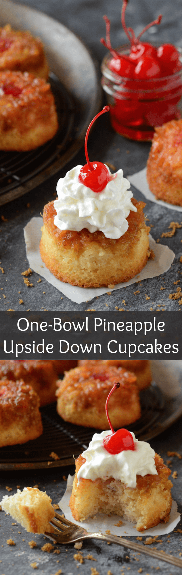 These One-Bowl Pineapple Upside Down Cupcakes are just like the classic version -- a sweet dense cake with a brown sugar caramelized pineapple topping!
