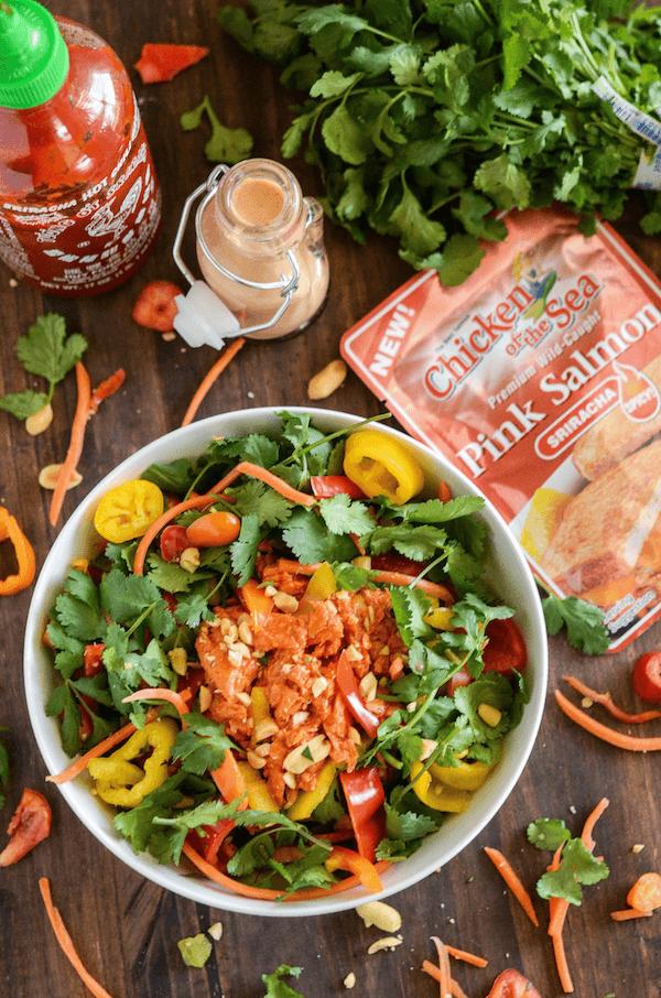 Spicy Thai Salmon Chopped Salad with a Sriracha Peanut Dressing!