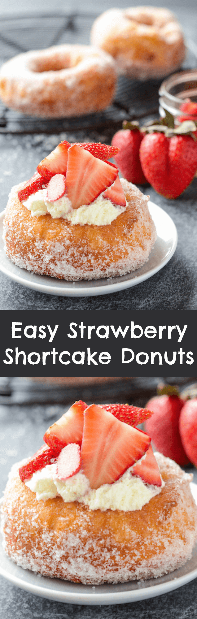 Strawberry Shortcake Donuts that only take 15 minutes to make! #Breakfast #Brunch
