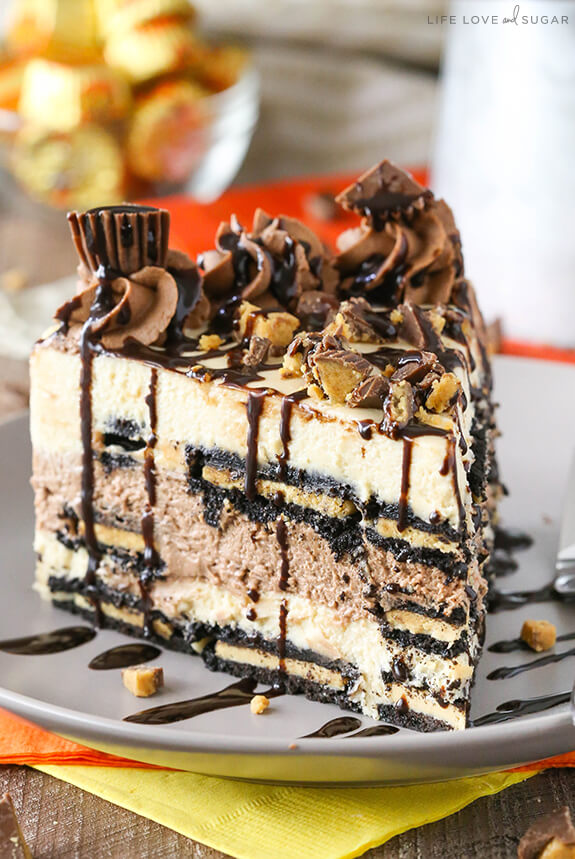 PEANUT BUTTER CHOCOLATE ICEBOX CAKE via Life Love and Sugar