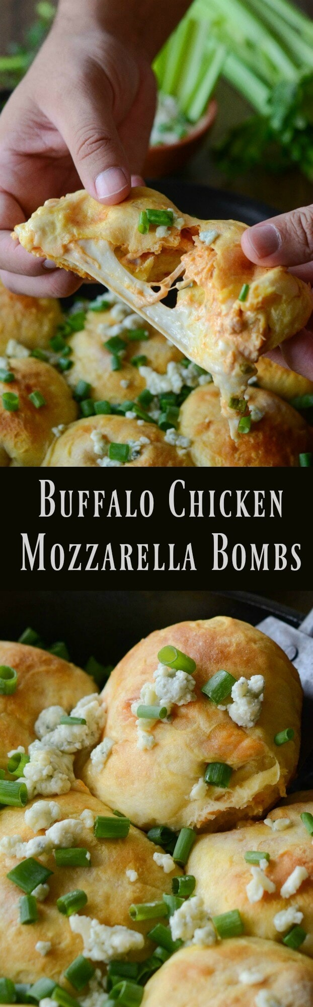 Buffalo Chicken Mozzarella Bombs: biscuit dough is stuffed with buffalo chicken, blue cheese and fresh mozzarella!