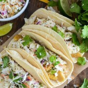 Coconut Curry Fish Tacos! Easy quick and healthy dinner with a ton of flavor!