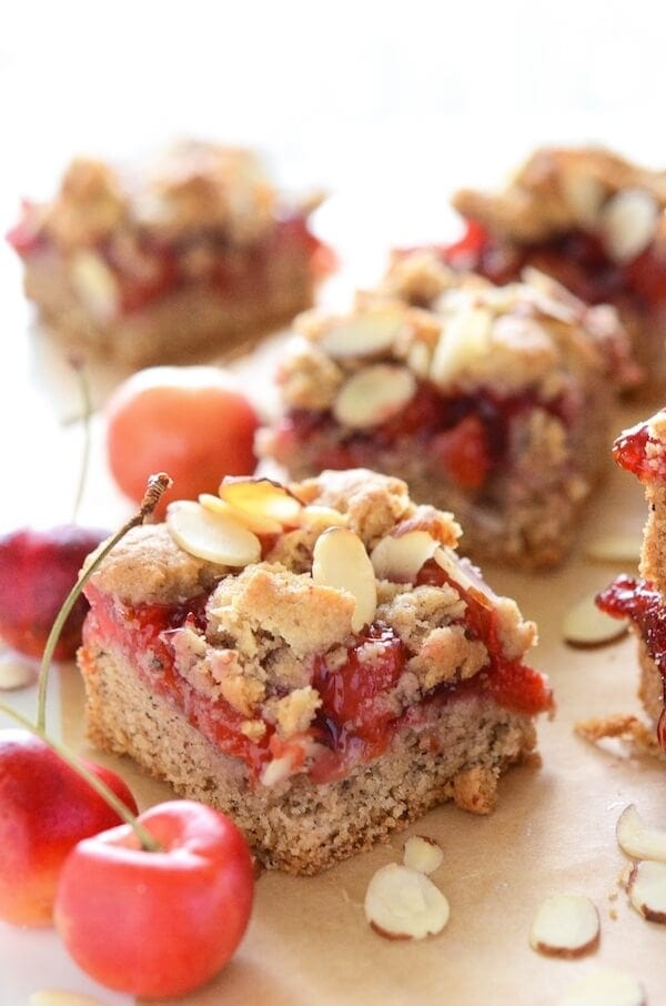 Gluten Free Cherry Almond Bars are made in one bowl and in under 45 minutes!