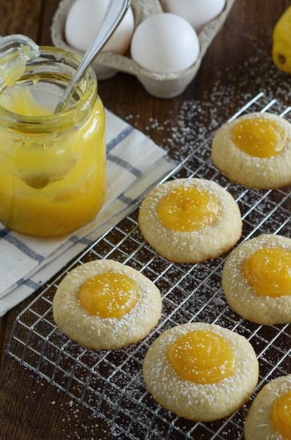 Lemon Thumbprint Cookies - soft buttery shortbread cookies filled with lemon curd!