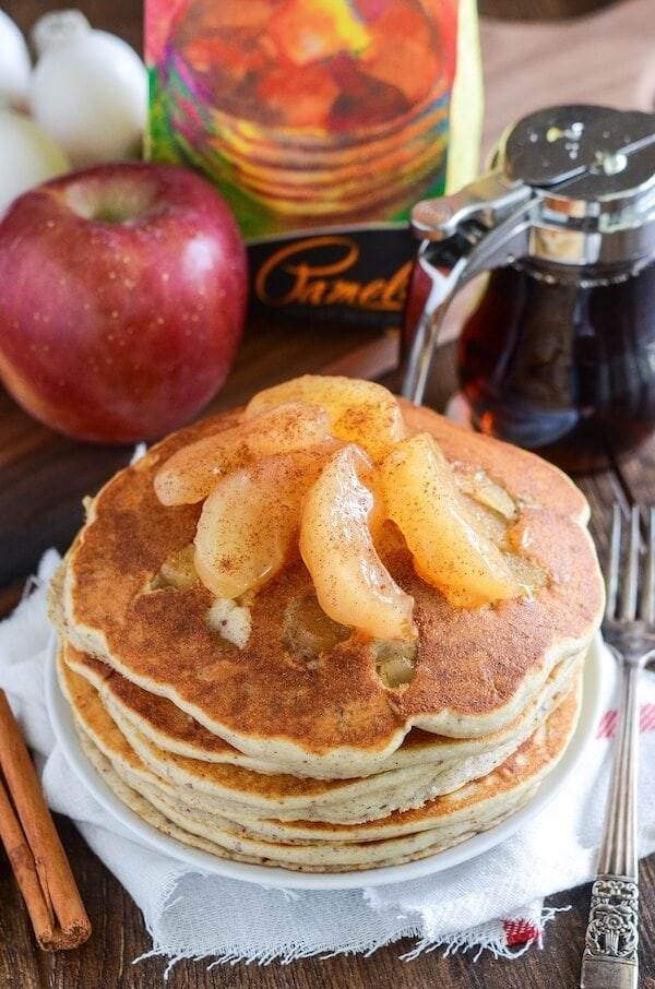 Apple Pie Pancakes with warm bites of cinnamon apples cooked inside!