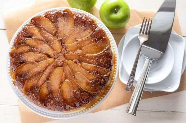 Apple Upside Down Cake! Spiced brown sugar apples with a sour cream cake.