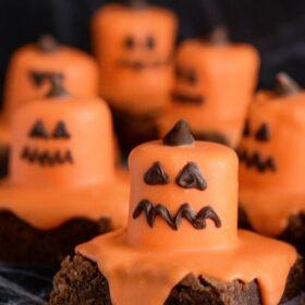 Melted Jack O' Lantern Brownies