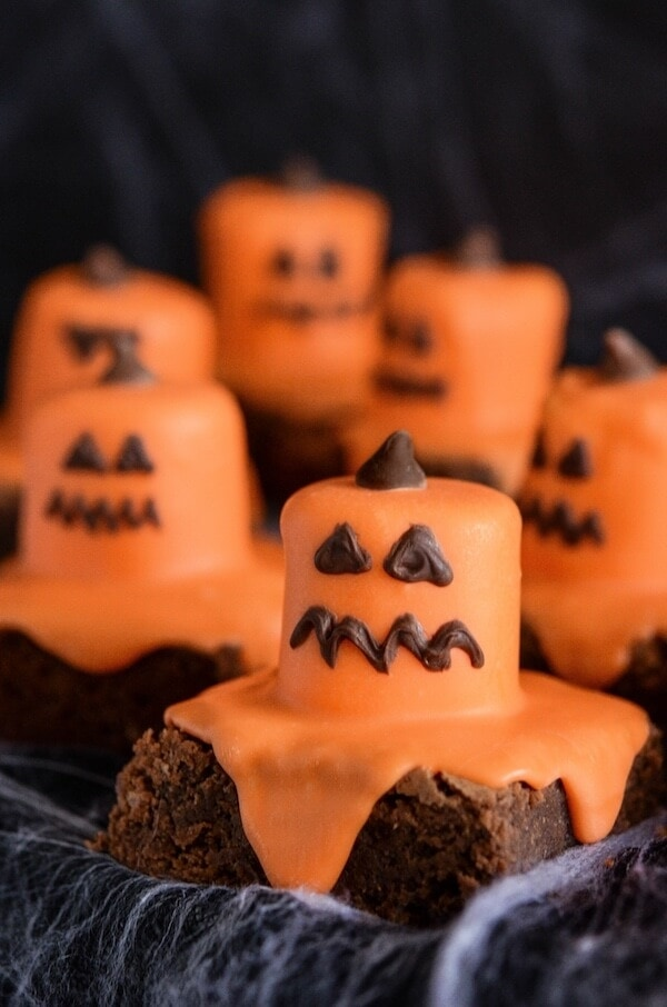 Melted Jack O' Lantern Brownies for Halloween