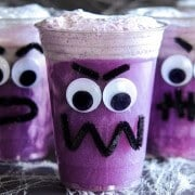 Purple People Eater Floats! Create this fun Halloween treat with the kids with pipe cleaners, hot glue, plastic cups, vanilla ice cream and purple grape soda!