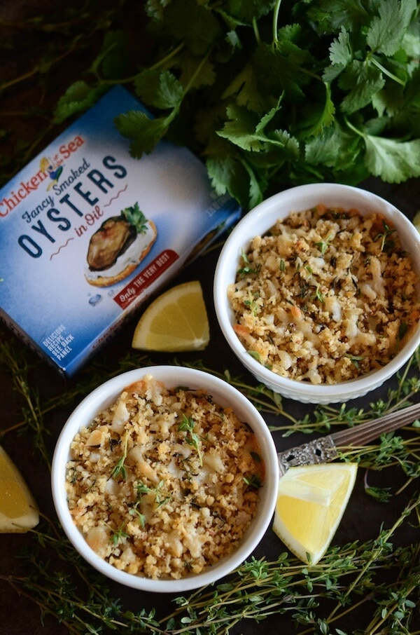 Herbed Baked Oysters with a crispy parmesan breadcrumb topping!